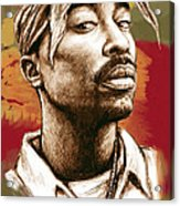 Tupac Shakur Stylised Drawing Art Poster Acrylic Print