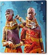 Young Turkana Girls Acrylic Print