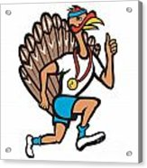 Turkey Run Runner Thumb Up Cartoon Acrylic Print by Aloysius Patrimonio