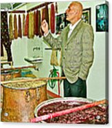 Turkish Rug Salesman Explains About Natural Dye Vats In Weaving Factory In Avanos-turkey  Acrylic Print