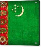 Turkmenistan Flag Vintage Distressed Finish Acrylic Print