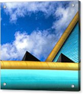Turquoise And Gold Acrylic Print