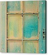 Turquoise And Pale Yellow Panel Door Acrylic Print