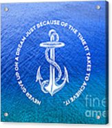 Turquoise Blue Tropical Sea With Vintage White Anchor Acrylic Print