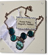 Turquoise French Francs Dragonfly Necklace Acrylic Print