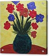 Turquoise Vase On Yellow Acrylic Print