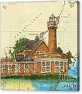 Turtle Rock Lighthouse Pa Chart Map Art  Acrylic Print
