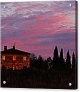 Tuscan Farmhouse And Morning Glow Acrylic Print