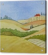 Tuscan Hillside Two Acrylic Print by Mary Ellen Mueller Legault