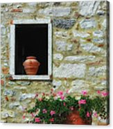 Tuscan Window And Flower Pot Acrylic Print