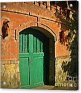 Tuscany Door With Horse Head Carvings Acrylic Print