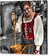Tutor Milkmaid Churning Butter  V2 Acrylic Print