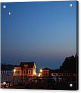 Twilight And Moon Rise Over The North Haven Casino. Celebrating 100 Years In 2012 The North Haven Casino Is One Of Maine's First Sailing Yacht Clubs. Acrylic Print