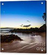 Twilight Beach - Beautiful And Secluded Secret Beach In Maui. Acrylic Print