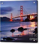 Twilight - Beautiful Sunset View Of The Golden Gate Bridge From Marshalls Beach. Acrylic Print