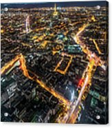 Twilight City View Of Paris Acrylic Print
