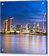 Twilight In Singapore Acrylic Print by Ulrich Schade