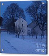 Twilight Snow On Bauman Road Acrylic Print by Anna Lisa Yoder