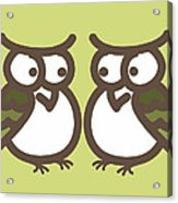 Twin Owl Babies- Nursery Wall Art Acrylic Print by Nursery Art