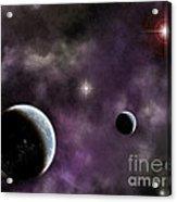 Twin Planets With Nebula Acrylic Print