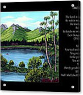 Twin Ponds And 23 Psalm On Black Horizontal Acrylic Print