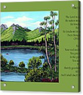 Twin Ponds And 23 Psalm On Green Horizontal Acrylic Print