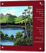 Twin Ponds And 23 Psalm On Red Horizontal  Acrylic Print