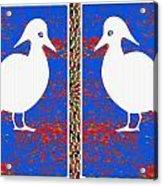 Twin Souls Love Birds Snow White Color Acrylic Print