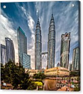 Twin Towers Kl Acrylic Print by Adrian Evans