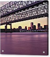 Twins Bridge Over A River, Crescent Acrylic Print