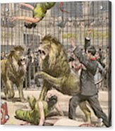 Two Acrobats Fall Into The  Lions' Acrylic Print
