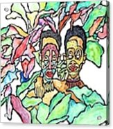 Two African Men In Leaves Acrylic Print