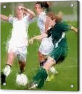 Two Against One Expressionist Soccer Battle  Acrylic Print
