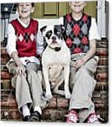 Two Boys And Their Dog Acrylic Print
