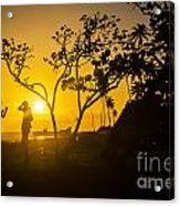 Two Boys Silhouette In Spectacular Golden Sunset  Acrylic Print