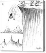 Two Cavemen Push A Caveman Off A Cliff Acrylic Print