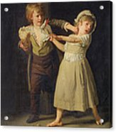 Two Children Fighting Over A Piece Of Bread Acrylic Print