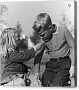 Two Children Acrylic Print by Hans Namuth
