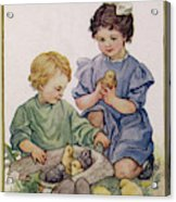 Two Children Play With Chicks Acrylic Print