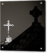 Two Crosses In Jerusalem In Black And White Acrylic Print