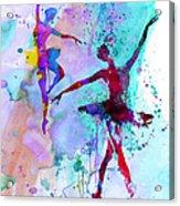 Two Dancing Ballerinas Watercolor 2 Acrylic Print