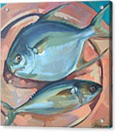 Two Fish On A Copper Platter Acrylic Print