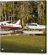 Two Float Planes On Moosehead Lake Near Greenville Maine  Acrylic Print