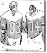 Two Football Players Are Talking To Each Other Acrylic Print
