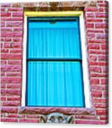 Two Gargoyle-like Figures Above And Below Window Of Moore Block In Pipestone-minnesota Acrylic Print