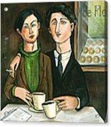 Two Gay Men In A Paris Cafe Acrylic Print
