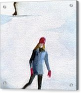 Two Girls Ice Skating Watercolor Painting Acrylic Print