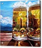 Two Glasses Of Beer With Mountains Acrylic Print