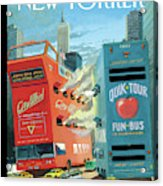 Two Huge Double Decker Tourist Buses Shooting Acrylic Print