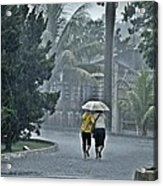 Two Ladies With One Umbrella Acrylic Print by Achmad Bachtiar